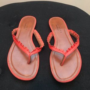 Talbots flat flat Ruffled leather thong sandal